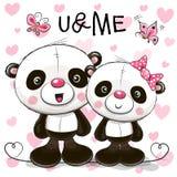Δύο χαριτωμένα κινούμενα σχέδια Pandas διανυσματική απεικόνιση