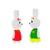 Δύο χαριτωμένα κουνέλια κινούμενων σχεδίων Στοκ Εικόνα