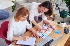 Δύο χαριτωμένες γυναίκες που εργάζονται με τον κατάλογο της παλέτας χρώματος Στοκ εικόνα με δικαίωμα ελεύθερης χρήσης
