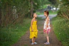 Δύο χαριτωμένοι φίλοι μικρών κοριτσιών στο πάρκο πεύκων dialogue στοκ φωτογραφία με δικαίωμα ελεύθερης χρήσης