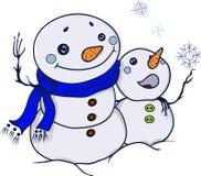 Δύο χαριτωμένοι χιονάνθρωποι, φίλοι, αγκαλιάσματα Στοκ Φωτογραφίες