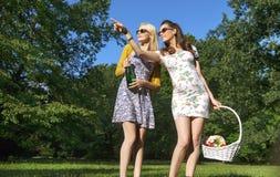 Δύο χαρούμενες κυρίες που φορούν τα καθιερώνοντα τη μόδα ξύλινα γυαλιά ηλίου Στοκ Εικόνες