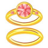 Δύο χρυσά δαχτυλίδια Στοκ Εικόνα