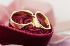 Δύο χρυσά γαμήλια δαχτυλίδια στην κόκκινη κορδέλλα βελούδου Στοκ Εικόνες