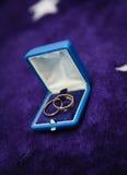 Δύο χρυσά γαμήλια δαχτυλίδια στο ανοικτό κιβώτιο Στοκ Εικόνες