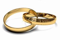 Δύο χρυσά γαμήλια δαχτυλίδια Στοκ φωτογραφία με δικαίωμα ελεύθερης χρήσης