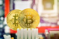 Δύο χρυσά νομίσματα του bitcoin στα πλαίσια της μητρικής κάρτας Στοκ εικόνες με δικαίωμα ελεύθερης χρήσης
