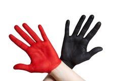 Δύο χρωματισμένα χέρια Στοκ φωτογραφίες με δικαίωμα ελεύθερης χρήσης