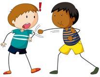 Δύο χτύπημα και punching αγοριών απεικόνιση αποθεμάτων