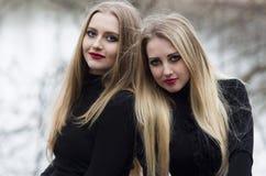 Δύο όμορφα κορίτσια με την ξανθή τρίχα Στοκ Φωτογραφία