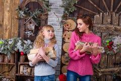 Δύο όμορφα κορίτσια που θέτουν στις διακοσμήσεις Χριστουγέννων Στοκ Εικόνα