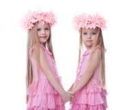 Δύο όμορφα μικρά κορίτσια στα ρόδινα φορέματα στοκ εικόνες