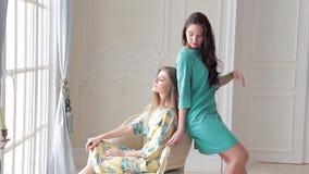 Δύο όμορφα πρότυπα στα ρομαντικά φορέματα που θέτουν στη συνεδρίαση στούντιο στην καρέκλα απόθεμα βίντεο