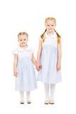 Δύο όμορφες αδελφές στα φορέματα που απομονώνονται στο λευκό Στοκ φωτογραφία με δικαίωμα ελεύθερης χρήσης