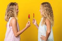 Δύο όμορφες νέα κορίτσια ή αδελφές που θέτουν με το lollipop στο κίτρινο υπόβαθρο στοκ φωτογραφία με δικαίωμα ελεύθερης χρήσης