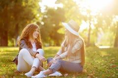 Δύο όμορφες νέες γυναίκες που μιλούν καθμένος στο έδαφος στο ηλιόλουστο πάρκο Επικοινωνία και κουτσομπολιό στοκ φωτογραφία με δικαίωμα ελεύθερης χρήσης
