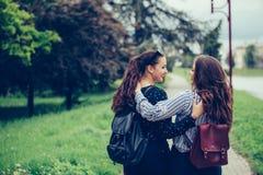 Δύο όμορφοι θηλυκοί φίλοι που αγκαλιάζουν ο ένας τον άλλον περπατώντας μέσω του πάρκου στοκ εικόνες