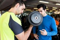 Δύο όμορφοι νεαροί άνδρες που κάνουν τη μυϊκή άσκηση στη γυμναστική Στοκ Εικόνες