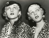 Δύο blondes στην τυπωμένη ύλη λεοπαρδάλεων Στοκ Εικόνες