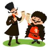 Δύο cossacks με τα κέρατα κρασιού Στοκ Εικόνες
