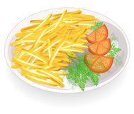 Δύο cutlets σε ένα πιάτο Διακοσμήστε τις καυτές τηγανισμένες λουρίδες πατατών Ντομάτες και πράσινα κοντινές Γρήγορα, νόστιμα και  ελεύθερη απεικόνιση δικαιώματος