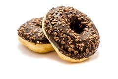 Δύο donuts με την τήξη που απομονώνονται στο άσπρο υπόβαθρο στοκ φωτογραφία με δικαίωμα ελεύθερης χρήσης