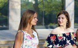 Δύο fladies που μιλούν στην οδό στοκ εικόνα με δικαίωμα ελεύθερης χρήσης