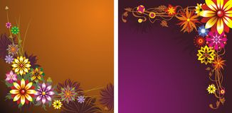 Δύο floral ανασκοπήσεις διανυσματική απεικόνιση