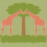 Δύο giraffes κάτω από το διάνυσμα δέντρων Στοκ Φωτογραφία