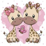 Δύο Giraffes κινούμενων σχεδίων σε ένα υπόβαθρο καρδιών ελεύθερη απεικόνιση δικαιώματος