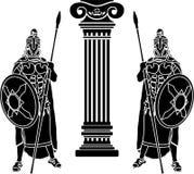 Δύο hoplits και στήλη ελεύθερη απεικόνιση δικαιώματος