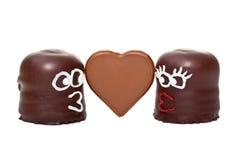 Δύο marshmallows μειωμένα ερωτευμένα 2 Στοκ Εικόνες