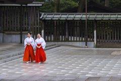 Δύο Mikos στη λάρνακα του Τόκιο ` s Meiji, Ιαπωνία Στοκ Φωτογραφίες