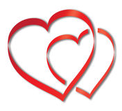 Δύο overleaping καρδιές Στοκ φωτογραφίες με δικαίωμα ελεύθερης χρήσης