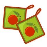 Δύο potholders με το πρότυπο μήλων διανυσματική απεικόνιση