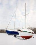 Δύο Sailboats το χειμώνα Στοκ Εικόνες