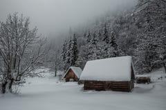 Δύο snov-καλυμμένες καμπίνες snowdrift στοκ φωτογραφία με δικαίωμα ελεύθερης χρήσης