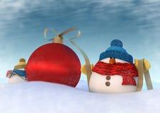 Δύο snowmans Στοκ φωτογραφία με δικαίωμα ελεύθερης χρήσης