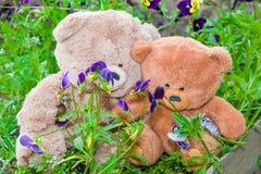 Δύο Teddy αντέχουν το καλοκαίρι παιχνιδιών μεταξύ της πράσινης χλόης με τα λουλούδια, Στοκ εικόνες με δικαίωμα ελεύθερης χρήσης