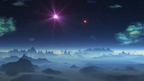 Δύο UFOs που πετούν πέρα από τον αλλοδαπό πλανήτη διανυσματική απεικόνιση