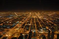 δύση νύχτας του Σικάγου Στοκ Εικόνες