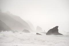 δύσκολη ακτή mendocine ομίχλης στοκ εικόνες