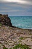 Δύσκολη παραλία στο φραγμό Lenny και κάγκελα στους κοκοφοίνικες Cayo, Κούβα στοκ φωτογραφίες