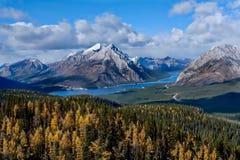Δύσκολο τοπίο βουνών με τη λίμνη και τα χρυσά αγριόπευκα στοκ φωτογραφίες