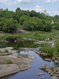 Δύσκολα ορμητικά σημεία ποταμού στον ποταμό, Korsun Shevchenkivsky, Ουκρανία Στοκ εικόνες με δικαίωμα ελεύθερης χρήσης