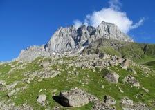 Δύσκολες αιχμές και πέτρες με τη χλόη στα καυκάσια βουνά στοκ εικόνα με δικαίωμα ελεύθερης χρήσης