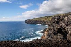 Δύσκολη ακτή του νησιού Πάσχας - νησί Πάσχας, Χιλή Στοκ Εικόνες