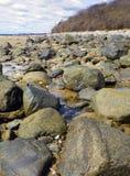 Δύσκολη παραλία της Μασαχουσέτης στο νησί δαμάσκηνων την άνοιξη Στοκ εικόνα με δικαίωμα ελεύθερης χρήσης