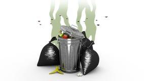 Δύσοσμες δοχείο απορριμάτων και τσάντες απορριμάτων τρισδιάστατη ζωτικότητα Άλφα κανάλι, loopable απεικόνιση αποθεμάτων