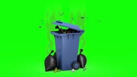 Δύσοσμες τσάντες δοχείων απορριμμάτων και απορριμάτων τρισδιάστατη ζωτικότητα Πράσινη οθόνη, loopable ελεύθερη απεικόνιση δικαιώματος